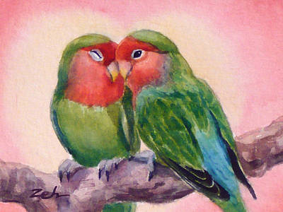 Lovebird Painting - Happiness Forever Lovebirds by Janet  Zeh