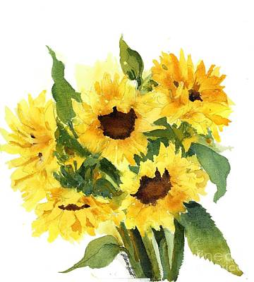 Sunflower Watercolor Painting - You Are My Sunshine by Maria Hunt