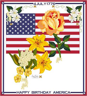 4th July Digital Art - Happy Birthday America 2013 by Anne Norskog