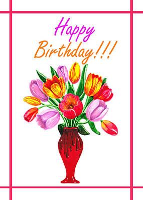 Happy Birthday Bouquet  Print by Irina Sztukowski