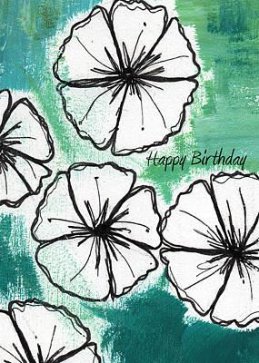 Happy Birthday- Floral Birthday Card Print by Linda Woods