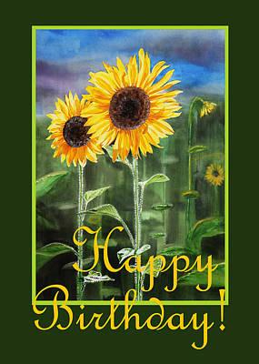 Country Style Painting - Happy Birthday Happy Sunflowers Couple by Irina Sztukowski