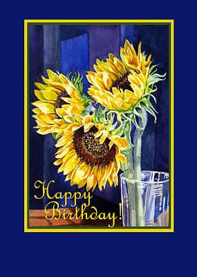 Country Style Painting - Happy Birthday Happy Sunflowers  by Irina Sztukowski
