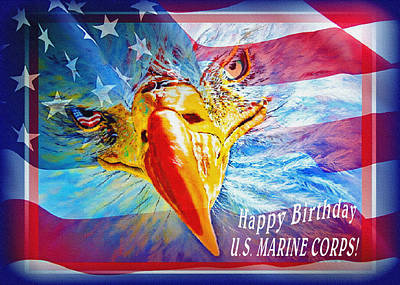 Happy Birthday Marine Corps Print by Donna Proctor