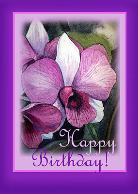 Orchids Painting - Happy Birthday Orchid Design by Irina Sztukowski