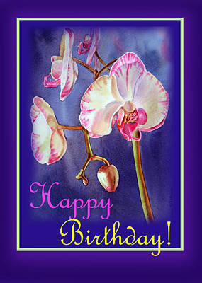 Orchid Art Painting - Happy Birthday Orchid by Irina Sztukowski