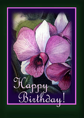 Orchid Art Painting - Happy Birthday Purple Orchid by Irina Sztukowski
