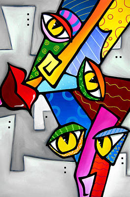 Modern Abstract Art Drawing - Happy By Fidostudio by Tom Fedro - Fidostudio