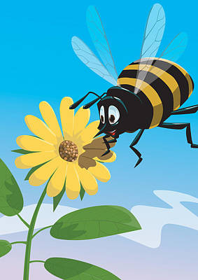 Happy Cartoon Bee With Yellow Flower Print by Martin Davey