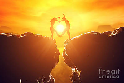 Connect Photograph - Happy Couple In Love Making Heart Shape by Michal Bednarek