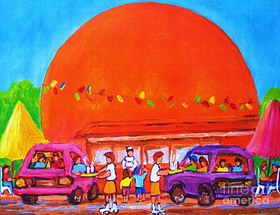 Orange Julep Painting - Happy Days At The Big  Orange by Carole Spandau