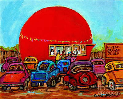 Orange Julep Painting - Happy Days At The Gibeau Orange Julep Montreal Landmark Antique Cars Carole Spandau by Carole Spandau