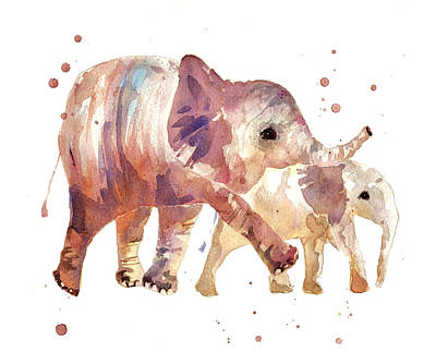 Happy Days Elephants Print by Alison Fennell