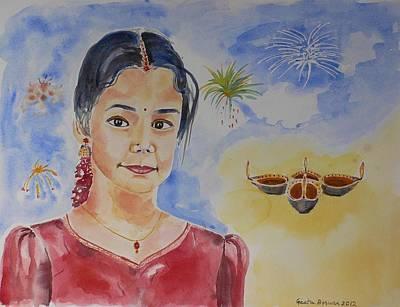 Happy Diwali  Print by Geeta Biswas