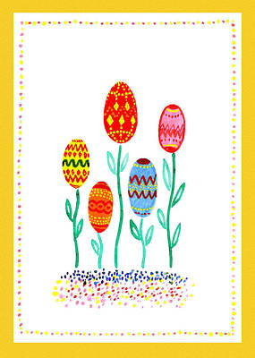 Yellow Painting - Happy Easter Eggs by Irina Sztukowski