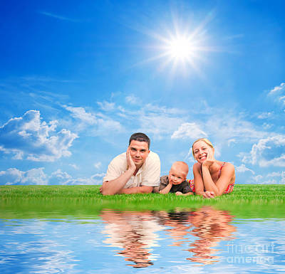 Father Photograph - Happy Family Together On Grass by Michal Bednarek