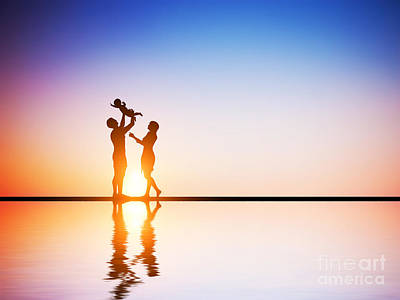 Outdoors Photograph - Happy Family Together Parents Celebrating Their Little Child by Michal Bednarek