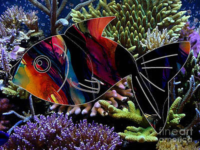 Fish Mixed Media -  Fish In The Reef by Marvin Blaine