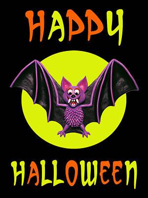 Halloween Card Digital Art - Happy Halloween Bat by Amy Vangsgard