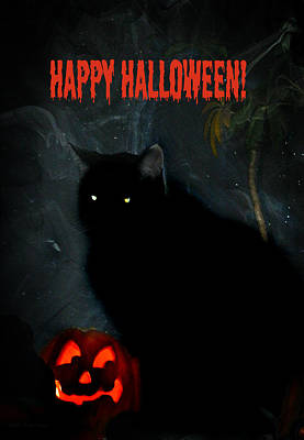 Happy Halloween Black Cat Print by Michelle Frizzell-Thompson