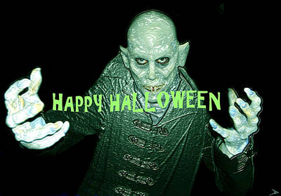 Spooky Digital Art - Happy Halloween The Count by David Lee Thompson