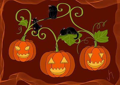 Pets Digital Art - Happy Halloween by Veronica Minozzi
