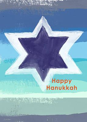 Hanukkah Painting - Happy Hanukkah Card by Linda Woods