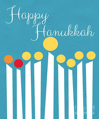 Candles Mixed Media - Happy Hanukkah Menorah Card by Linda Woods