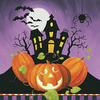 Happy Haunting House On Pumpkins Print by Lisa Audit