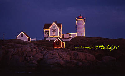 Happy Holidays At Nubble Print by Skip Willits