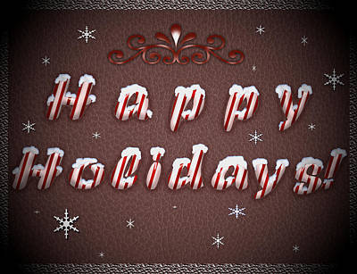 Candy Painting - Happy Holidays Candy Cane Wishes by Georgeta Blanaru
