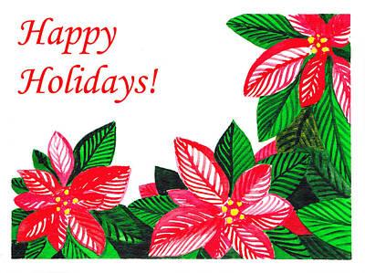 Poinsettia Painting - Happy Holidays by Irina Sztukowski