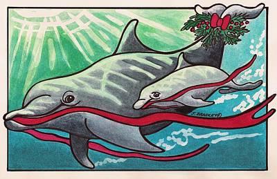 Dolphin Mixed Media - Happy Holidays by Joy Bradley