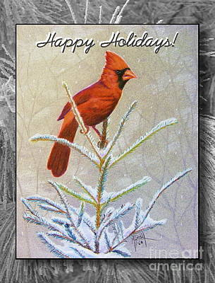 Cardinal Drawing - Happy Holidays by Marilyn Smith
