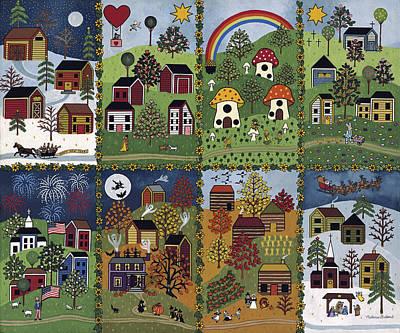 Folk Art Painting - Happy Holidays by Medana Gabbard