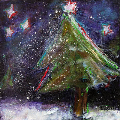 Happy Holidays Red And Blue Wishing Stars Original by Johane Amirault