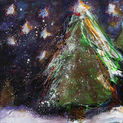 Happy Holidays Red And Gold Wishing Stars Print by Johane Amirault