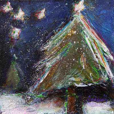 Happy Holidays Silver And Red Wishing Stars Original by Johane Amirault