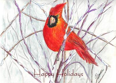 Happy Holidays Snow Cardinal Print by Carol Wisniewski