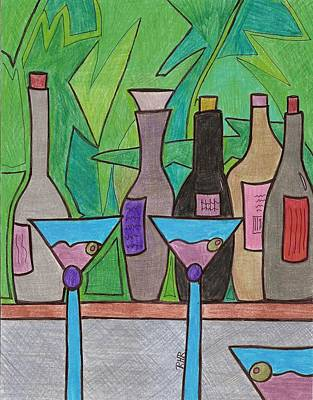Glass Bottle Drawing - Happy Hour by Ray Ratzlaff