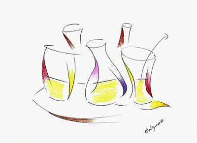 Illustration Drawing - Happy Hours Simple Drawing by Mario Perez