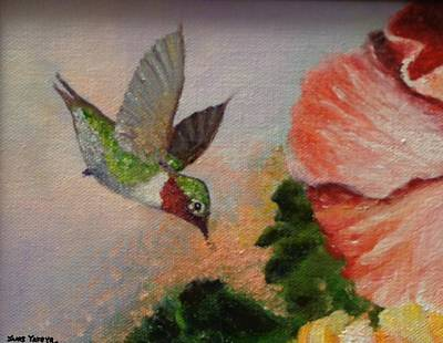 Fauna Painting - Happy Hummer by Janis  Tafoya