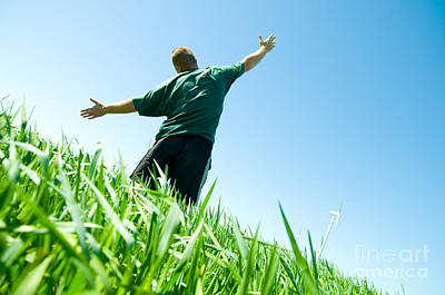 Spring Landscape Photograph - Happy Man On The Summer Field by Michal Bednarek