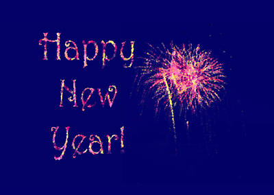 Happy New Year Fireworks Print by Marianne Campolongo