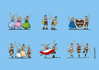 Women Drawing - Happy Oktoberfest Cartoon People by Frank Ramspott