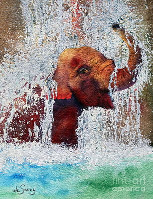 Happy Elephant Painting - Happy Packy by Diane DeSavoy