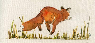 Red Fox Painting - Happy Red Fox by Juan  Bosco