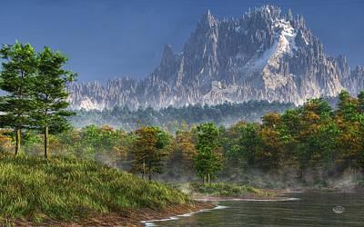 Bob Ross Digital Art - Happy River Valley by Daniel Eskridge