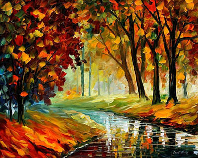Happy Stream - Palette Knife Oil Painting On Canvas By Leonid Afremov Original by Leonid Afremov