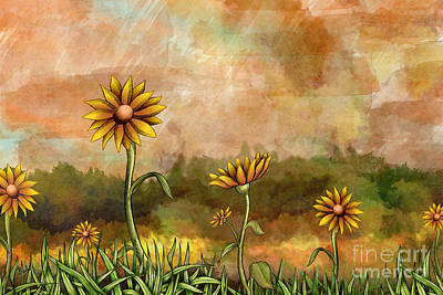 Smiling Mixed Media - Happy Sunflowers by Bedros Awak